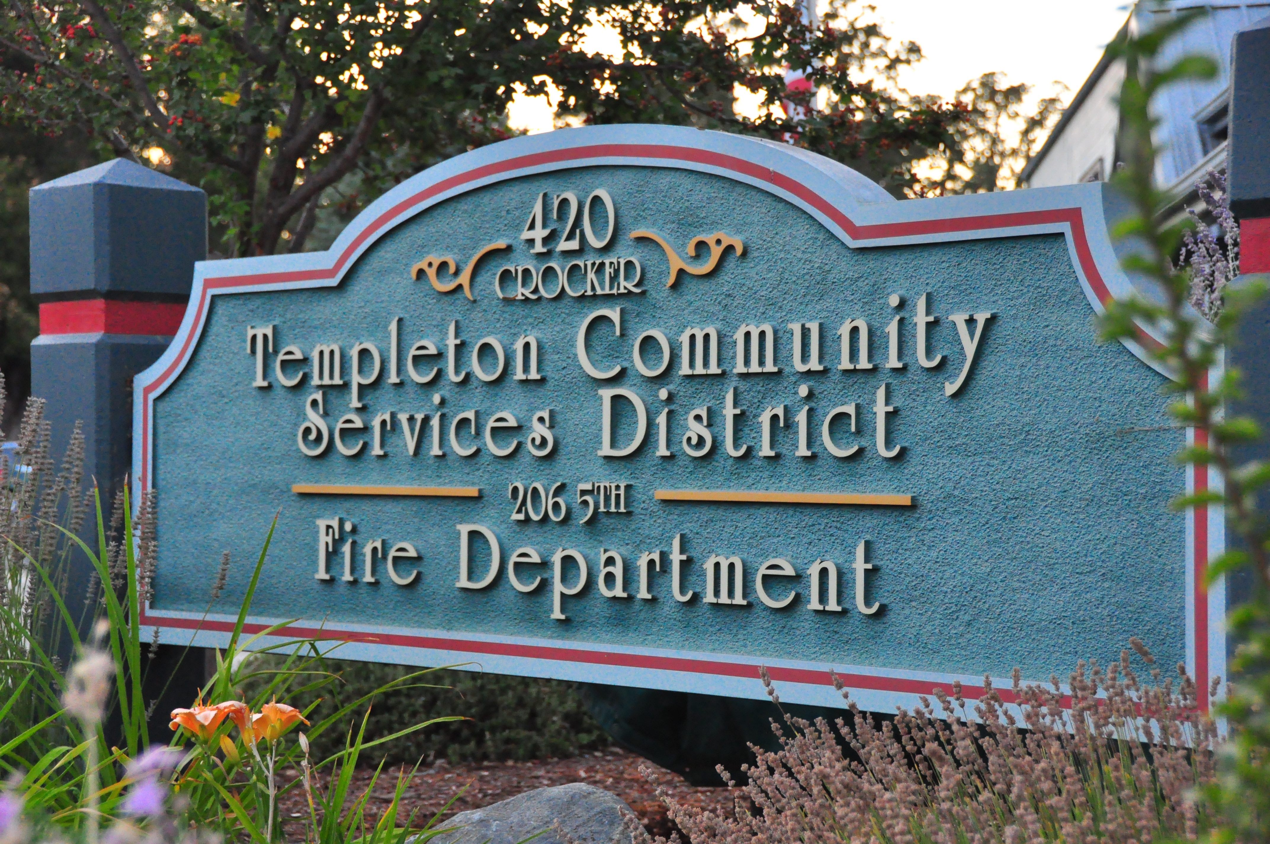 Templeton CSD & Fire Department Sign